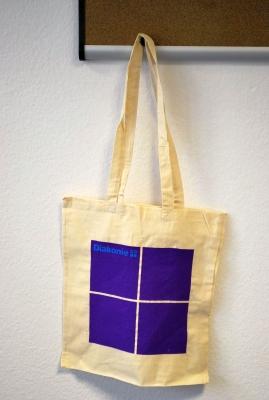 Baumwolltasche, violettes Quadrat